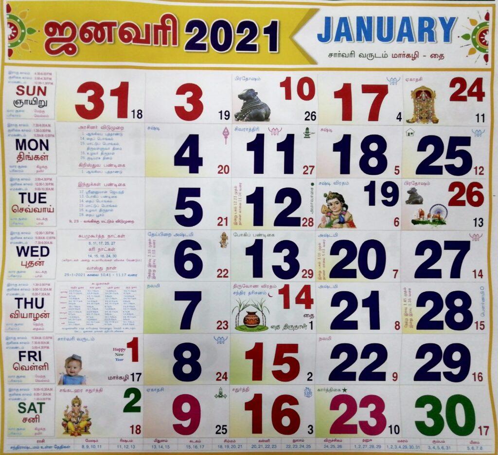 January Month Calendar 2021
