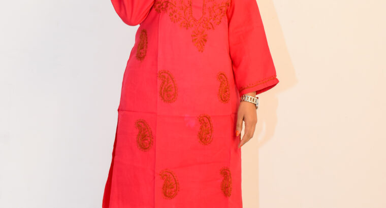 Hand Embroidered Lucknowi Chikan Red Cotton Kurti